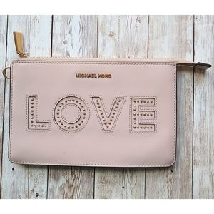 """Michael Kors Pink Leather """"Love"""" Clutch"""